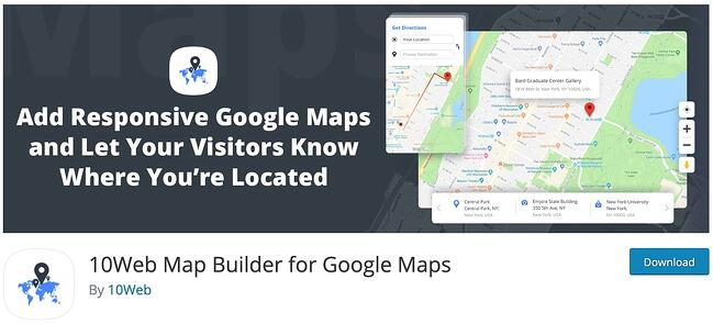 10Web wordpress google maps plugins